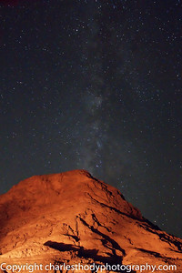The southern part of the Milky Way over one of the mountains. You would think it would be perfectly clear in the desert sky, but the amount of sand dust in the atmosphere made taking photos far more difficult than I imagined!