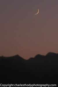 We were lucky to see the new moon setting with the sunset across the Sinai Mountains.