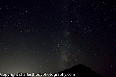 Light pollution from distant Sharm El Sheikh, mixed with am tremendous amount of dust in the atmosphere, is evident in this photo.