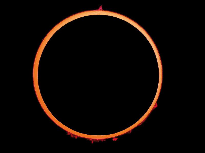 Anular Solar Eclipse - Centrality<br /> <br /> Location: Spain, 2005-10-03<br /> <br /> Instrument: Borg 76ED f6.6 + filter Coronado SM60 + Nikon 995 in afocal method with Plossl 25 mm