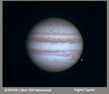 "Jupiter and Europe.<br /> 5 March 2013<br /> <br /> Celestron 11"" f/20 Edge HD telescope + Flea3 Mono Camera"