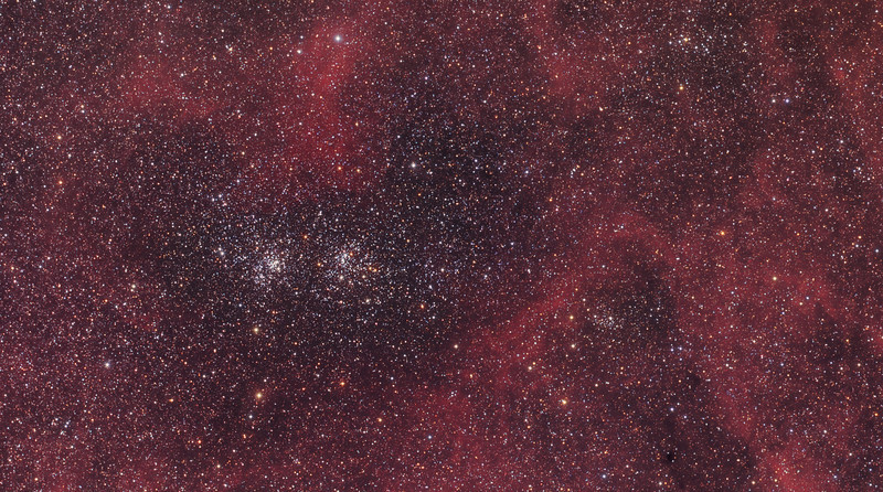 Double Cluster in Clouds of Hydrogen