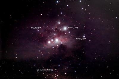NGC 1977, Running Man Nebula , surrounded by NGC 1975, NGC 1973 and De Mairan's Nebula