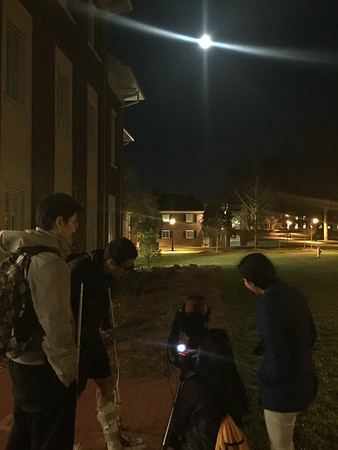 Looking at the Full Moon in front of the New Oxford Science Building on Feb. 9, 2017.