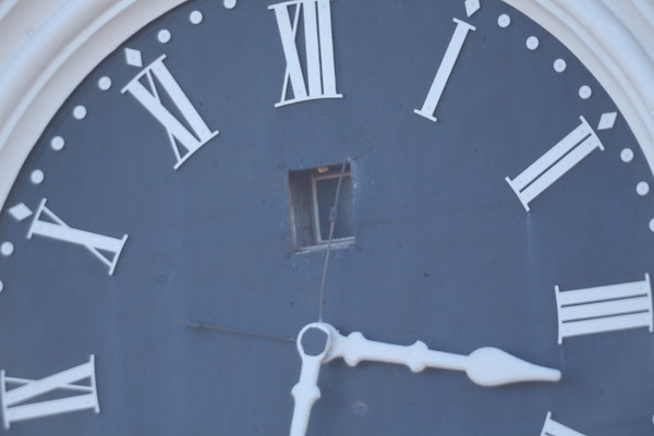 """Closeup of the Seney clock as viewed through the Celestron 6"""" telescope as viewed from in front of the New Oxford Science building."""