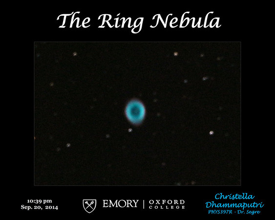 The Ring nebula displays a blue shell of ionized gas that is expanding away from a central White Dwarf star. It is about 2,000 light years from Earth.