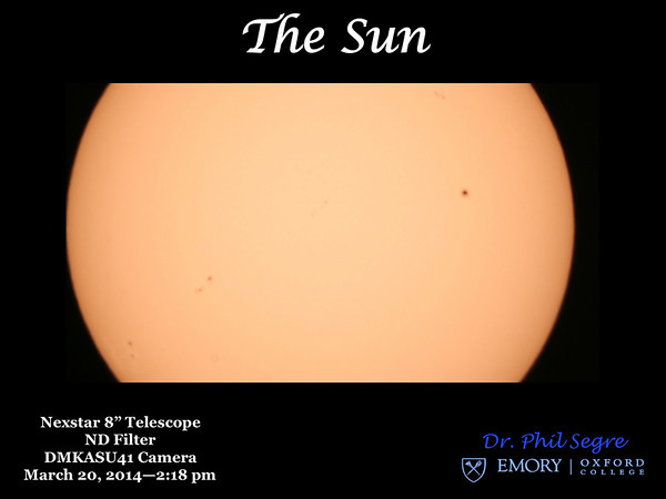 View of the Sun in visible light, only the sunspots are visible, no other surface or coronal features.