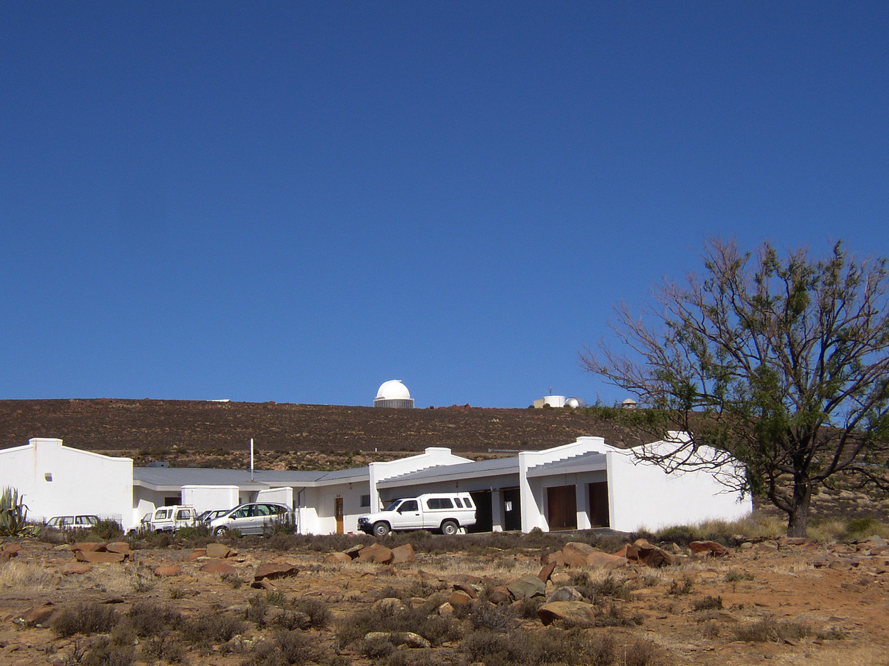 View from outside the residence looking up towards the telescopes.