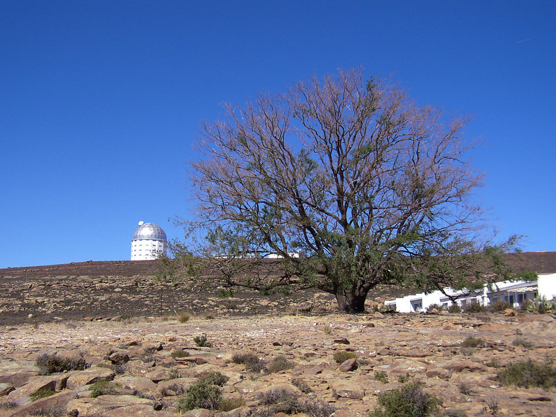 View from outside the residence looking up towards the SALT telescope.