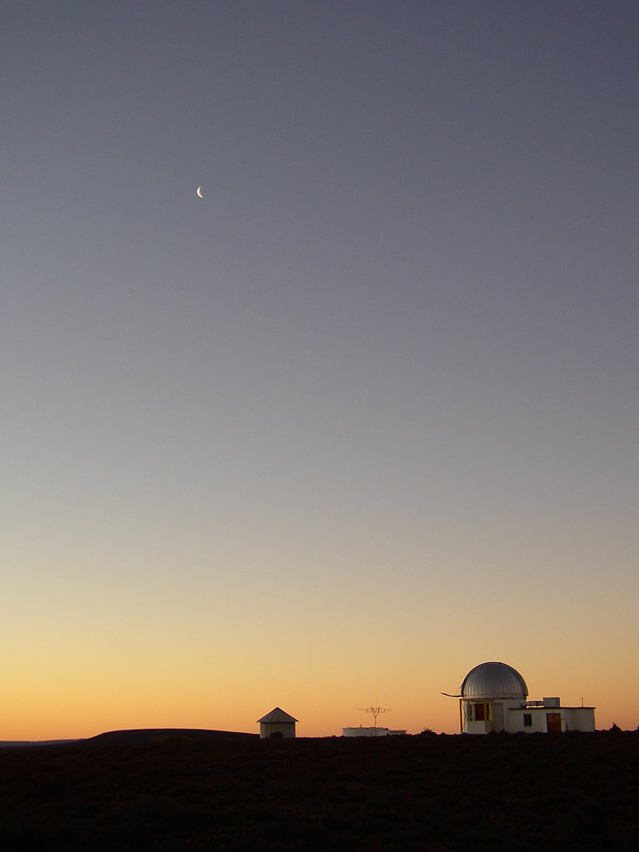 View of the Solar telescope with the moon in the background, at Sunset