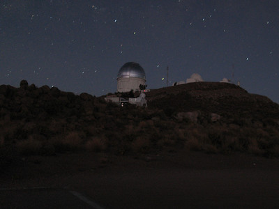 Looking up towards the telescope site at the start of the night