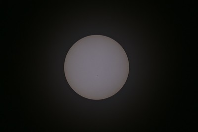 The Sun in white light. Look at the numerous small sunspots und the granulation around the globe.  This is only one exposure processed with Aperture v3.1.2 on a Mac. Telescope=FS-102 (f/8), Camera=Nikon d3100 unmodified, Mount=Vixen GP (green) with SD-1, Filter=Baader sun foil.