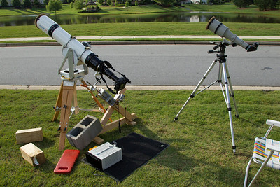 The main instrument in this setup is a 155mm Astro Physics with 1100mm focal length increased to 2200mm with a 2X tele-extender.  A crude drive mechanism was used to generally follow the motion of the sun as it was setting.
