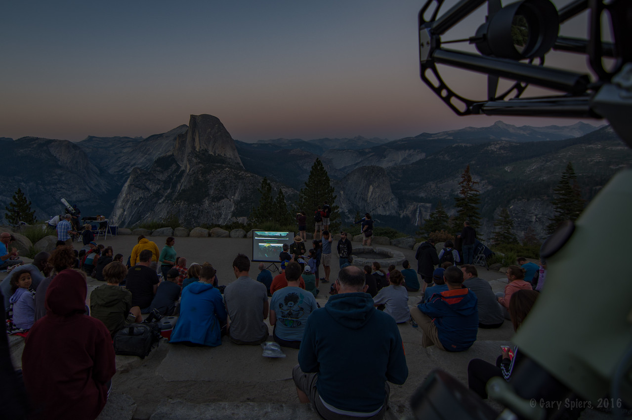 """Jane's talk almost ready to start. This is the title slide """"Stars over Yosemite"""""""