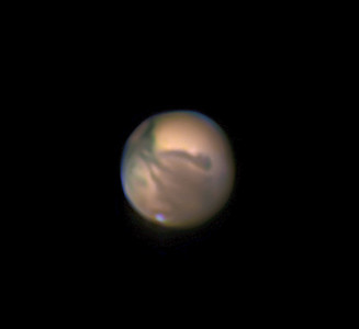 """Mars on November 8th at 10 PM EST  Toronto.  18"""" Dobsonian reflector at approximately f/15 with PGR Grasshopper monochrome camera."""
