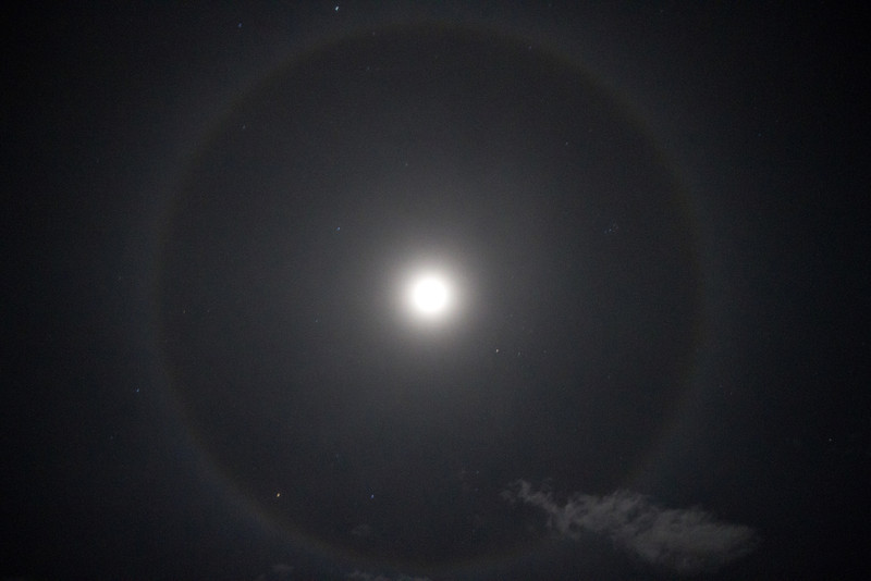 A moon halo photo taken from our driveway on 02/02/2012. Moon halos form when moonbeams are bent when passing through ice crystals that have formed in the high clouds. Taken with a Canon 7d and Canon 17-55mm f/2.8 at 1/4 sec and 6400 ISO.