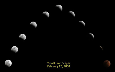 Photo montage of the entire total lunar eclipse sequence taken at Hendersonville, TN on February 20, 2008