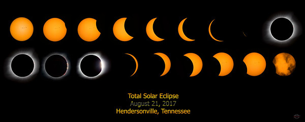 Total Eclipse Sequence with Eclipse Text - only available in 16 x 40 wood framed wall art