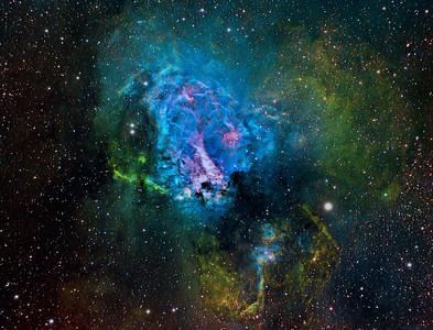 M17 Nebula| The Swan Nebula (catalogued as Messier 17 or M17 and as NGC 6618) is an H II region in the constellation Sagittarius. It was discovered by Philippe Loys de Chéseaux in 1745. Charles Messier catalogued it in 1764. It is located in the rich starfields of the Sagittarius area of the Milky Way.  The Omega Nebula is between 5,000 and 6,000 light-years from Earth and it spans some 15 light-years in diameter. The cloud of interstellar matter of which this nebula is a part is roughly 40 light-years in diameter. ********************************************************************************** Processed using HST palette Red=SII Green=Ha Blue=OIII. ************************************************************************** Captured using: Camera: QHY9 CCD (mono KAF 8300 chip) as main and QHY5 as guide| Filters: SII 8nm (26x20min), Ha 7nm (10x15min), OIII 8.5nm (12x15min)| Captured using Nebulosity 2 and PHD for guiding| Scope: WO FLT-110 Triplet f/7| Mount: HEQ5 Pro| QHY Filter Wheel 2"