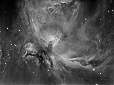 "Experimenting with M42 - Orion nebula using CCD camera QHY9 mono (KAF8300) and GSO RC 8"" f/8, filter used is the Baader Ha 7nm, 7x15min+3x10min+4x5min exposures. Seeing was very poor when this image was taken - thin viel of cloud. Date: 23th December 2009 Location: Backyard in Toongabbie a suburb of Sydney Australia Scope: GSO RC 8"" f/8 Guide Scope: SW 70mm x 500mm Camera: QHY9 mono (KAF8300) Guide Camera: QHY5 mono FFlattener: MPCC Mount: HEQ5 Pro Captured using Nebulosity and guided using PHD Processed using IP and PS-C3"