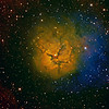 "M20 - Trifid Nebula|<br /> The Trifid Nebula (catalogued as Messier 20 or M20 and as NGC 6514) is an H II region located in Sagittarius. Its name means 'divided into three lobes'. The object is an unusual combination of an open cluster of stars, an emission nebula (the lower, red portion), a reflection nebula (the upper, blue portion) and a dark nebula (the apparent 'gaps' within the emission nebula that cause the trifid appearance, it is around 2000-9000 light years away and about 16 light years in diameter.<br /> **********************************************************************************************<br /> Processed using HST palette Red=Sii Green=Ha Blue=Oiii.<br /> **************************************************************************<br /> Captured using:<br /> Camera: QHY9 CCD (mono KAF 8300 chip) as main and QHY5 as guide|<br /> Filters: SII 8nm (5x20min) Bin2, Ha 7nm (11x20min), OIII 8.5nm (5x20min) Bin2|<br /> MPCC Field Flattener<br /> Captured using Nebulosity 2 and PHD for guiding|<br /> Scope: GSO RC 8"" f/8