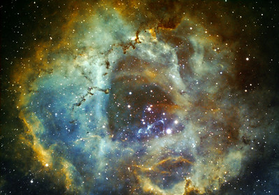 Another version of Rosette Nebula in Hubble palette Date: Over 3 nights 10-12th November 2009