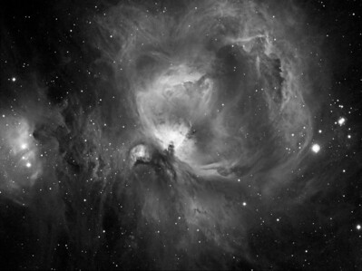M42 - Orion Nebula ********************************************************************************************** Processed. ************************************************************************** Captured using: Date: 10th November 2009 Site: My Backyard - Toongabbie NSW (suburb of Sydney Australia| Camera: QHY9 CCD (mono KAF 8300 chip) as main and QHY5 as guide| Filters: Ha 7nm (3x1min+3x5min+4x15min)| MPCC Field Flattener Captured using Nebulosity 2 and PHD for guiding| Scope: WO FLT110  f/7 TMB| Mount: HEQ5 Pro| QHY Filter Wheel 2"