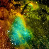 IC4628 Prawn Nebula.<br /> The Prown nebula is around 6000 light years away, and is estimated to be around 250 light years across.<br /> **********************************************************************************<br /> Processed using HST palette Red=SII Green=Ha Blue=OIII.<br /> **************************************************************************<br /> Captured using:<br /> Date: 28th - 31st July 2009<br /> Camera: QHY9 CCD (mono KAF 8300 chip) as main and QHY5 as guide|<br /> Filters: SII 8nm (25x20min), Ha 7nm (15x20min), OIII 8.5nm (26x20min)|<br /> Captured using Nebulosity 2 and PHD for guiding|<br /> Scope: WO FLT-110 Triplet f/7|<br /> Mount: HEQ5 Pro|<br /> QHY Filter Wheel 2"