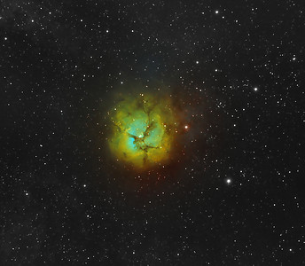 The Trifid Nebula (catalogued as Messier 20 or M20 and as NGC 6514) is an H II region located in Sagittarius. Its name means 'divided into three lobes'. The object is an unusual combination of an open cluster of stars, an emission nebula (the lower, red portion), a reflection nebula (the upper, blue portion) and a dark nebula (the apparent 'gaps' within the emission nebula that cause the trifid appearance, it is around 2000-9000 light years away and about 16 light years in diameter. ********************************************************************************************** Processed using HST palette Red=Sii Green=Ha Blue=Oiii. ************************************************************************** Captured using: Camera: QHY9 CCD (mono KAF 8300 chip) as main and QHY5 as guide| Filters: SII 8nm (3x25min), Ha 7nm (3x20min), OIII 8.5nm (9x20min)| Captured using Nebulosity 2 and PHD for guiding| Scope: WO FLT-110 Triplet f/7| Mount: HEQ5 Pro| QHY Filter Wheel 2"