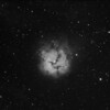 "M20<br /> This is a test exposure to try out the new GSO RC 8"" telescope. Image captured using QHY9 Mono CCD+QHY CFW+WO P-Flat3 on the GSO RC 8"", guided using seprate guide scope with QHY5 guide camera, all mounted on the HEQ5 Pro. Baader Ha 7nm filter was used, 4 x 20min exposures totalling 1h 20m. It looks like the WO P-Flat3 (0.8x reducer) did a good job flattening the field, the elongated stars top left is more then likely caused by focuser slop - awaiting new replacement Feather Touch focuser to address this slop. Further it should be noted that this image was captured during very poor see condition - haze and bush fire smoke."