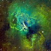 M17 Nebula|<br /> The Swan Nebula (catalogued as Messier 17 or M17 and as NGC 6618) is an H II region in the constellation Sagittarius. It was discovered by Philippe Loys de Chéseaux in 1745. Charles Messier catalogued it in 1764. It is located in the rich starfields of the Sagittarius area of the Milky Way.<br /> <br /> The Omega Nebula is between 5,000 and 6,000 light-years from Earth and it spans some 15 light-years in diameter. The cloud of interstellar matter of which this nebula is a part is roughly 40 light-years in diameter.<br /> **********************************************************************************<br /> Processed using HST palette Red=SII Green=Ha Blue=OIII.<br /> **************************************************************************<br /> Captured using:<br /> Camera: QHY9 CCD (mono KAF 8300 chip) as main and QHY5 as guide|<br /> Filters: SII 8nm (26x20min), Ha 7nm (10x15min), OIII 8.5nm (12x15min)|<br /> Captured using Nebulosity 2 and PHD for guiding|<br /> Scope: WO FLT-110 Triplet f/7|<br /> Mount: HEQ5 Pro|<br /> QHY Filter Wheel 2"