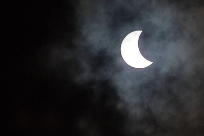 This was the first glimpse we got of the eclipsed sun. Clouds had obscured (eclipsed?) the sun before.