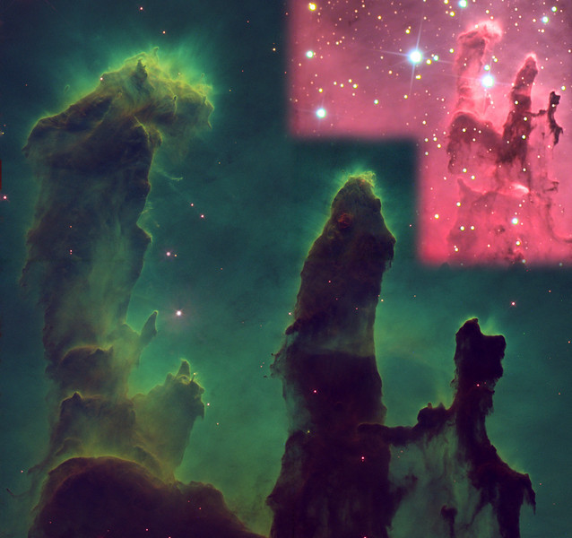 Eagle nebula pillars, M16.  A false-color composite made from the original FITS data of the Hubbell Space Telescope, accompanied by an insert including the same region imaged through the 24 inch Schulman Foundation telescope on Mt. Lemmon, AZ.   All image processing by JDS.  The matchless quality of the Hubbell is breathtaking!  Image created in honor of the late Zelda Segall.