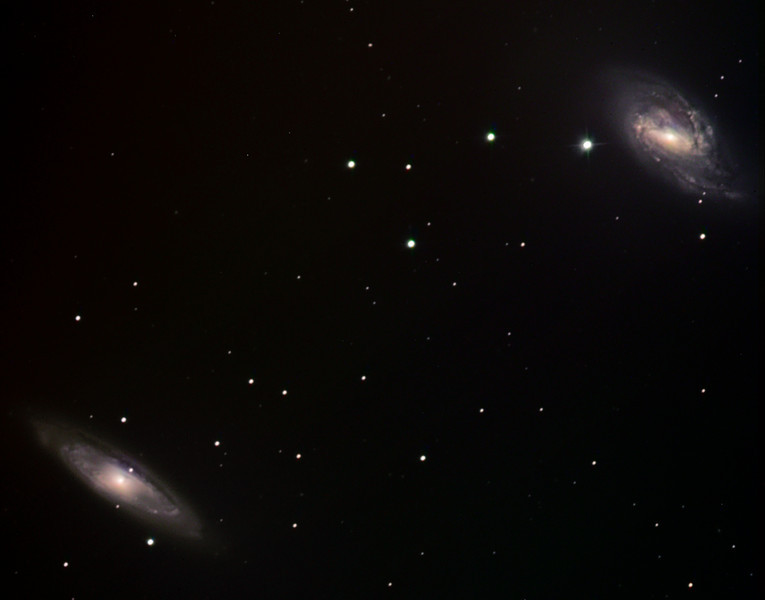 Messier 65 and 66 spiral galaxies