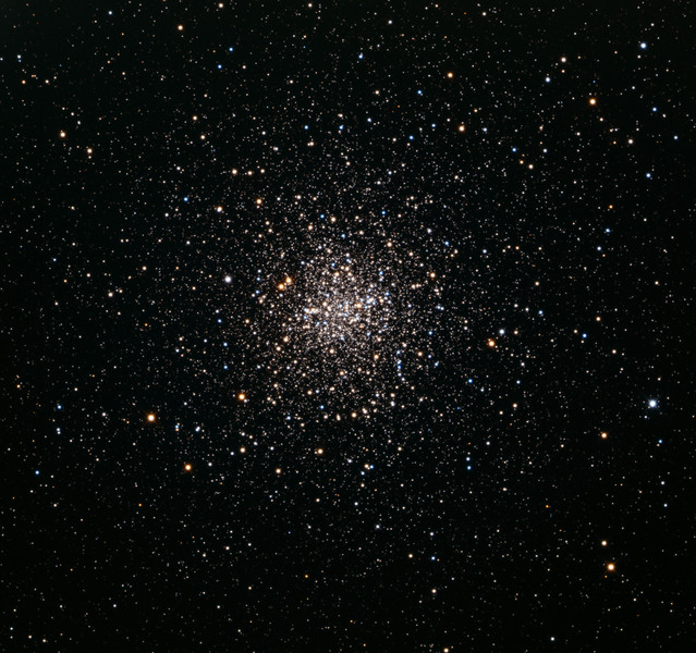 Messier 4 (M4) globular cluster.  32 inch Schulman telescope with STX camera on Mt. Lemmon, AZ.  Data capture and reduction by Adam Block, University of Arizona.  RGB processing by JDS using CCDStack, and Photoshop CS6.