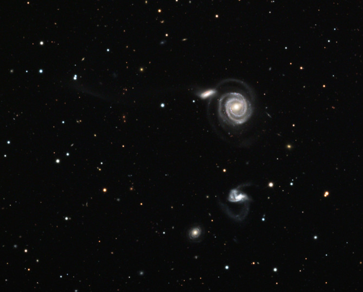 NGC 5754 and associated interacting galaxies, also known as Arp 297.  32 inch Schulman telescope with STX camera on Mt. Lemmon, AZ.  Data capture and reduction by Adam Block, University of Arizona.  LRGB processing by JDS using CCDStack and Photoshop.  These galaxies are approximately 200 million light years from Earth.
