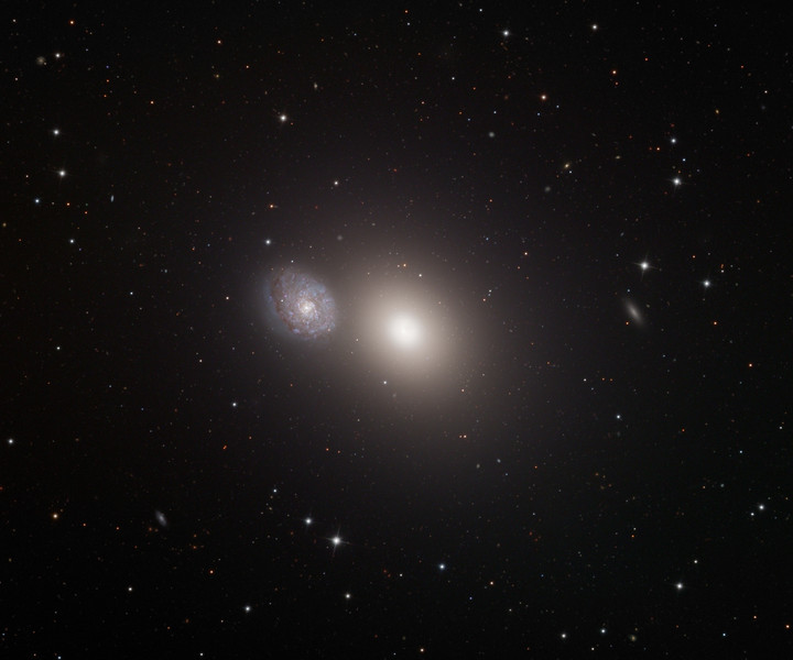 Messier 60 elliptical galaxy and NGC 4647 spiral galaxy (left).  32 inch Schulman telescope with STX camera on Mt. Lemmon, AZ.  Data capture and reduction by Adam Block, University of Arizona.  LRGB processing by JDS using CCDStack and Photoshop CS5.