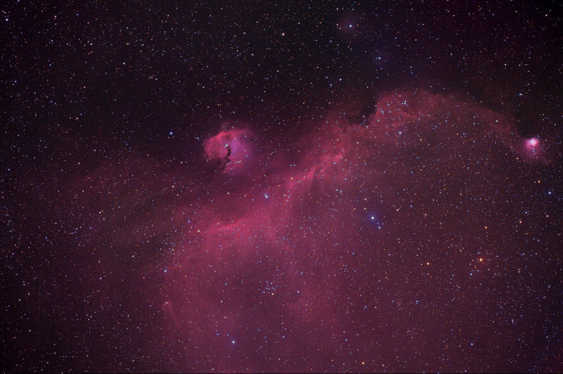 IC 2177, Seagull nebula, including the small, bright nebula Cederblad 90, H-alphaLRGB image.  The following image is a close view of Ced 90.