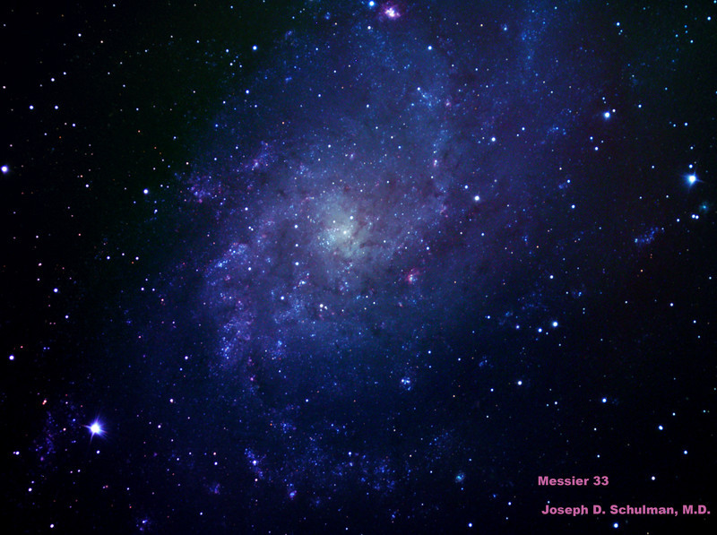 Messier 33 (M33), Pinwheel Galaxy.  This image taken from sea level may be compared with the result made possible with the 32 inch telescope and a more advanced camera atop Mt. Lemmon which appears later in this gallery.