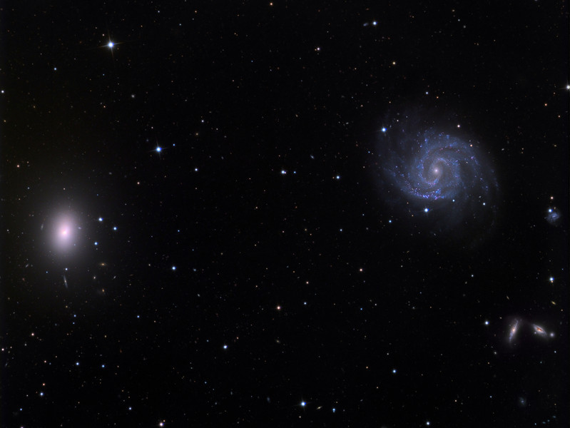 NGC1042 spiral galaxy (right) and NGC1052 elliptical galaxy (left). 32 inch Schulman telescope with STX camera on Mt. Lemmon, AZ.  Data capture and reduction by Adam Block, University of Arizona.  LRGB processing by JDS using CCDStack and Photoshop CS6.
