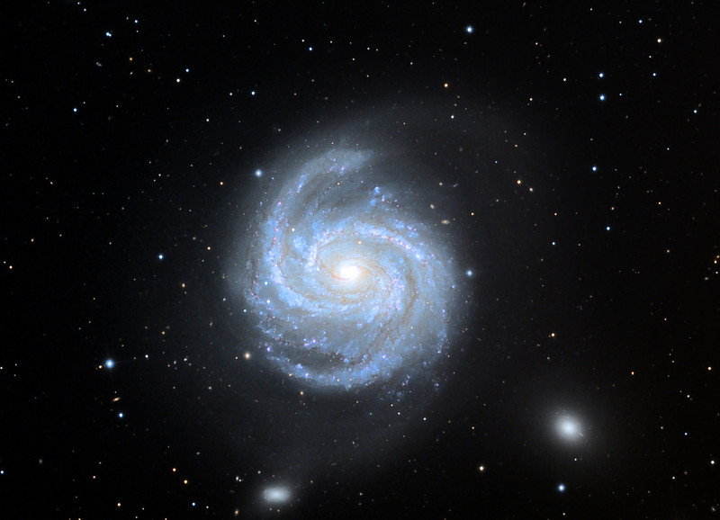 Messier 100, spiral galaxy in the Virgo Cluster.  Schulman Foundation 24 inch telescope on Mt. Lemmon, AZ, using SBIG STL-11000M camera.  Data frames by Adam Block.  LLRGB processing using Maxim DL, CCDSharp, Digital Development, and Photoshop CS3 by JDS.