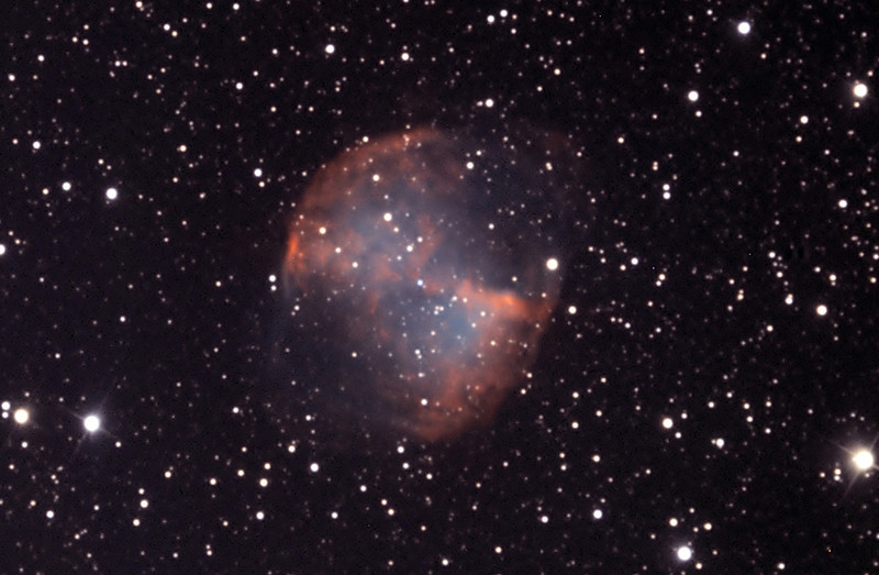 Messier 27, Dumbbell planetary nebula.  Processed with MaxIm DL and Photoshop.