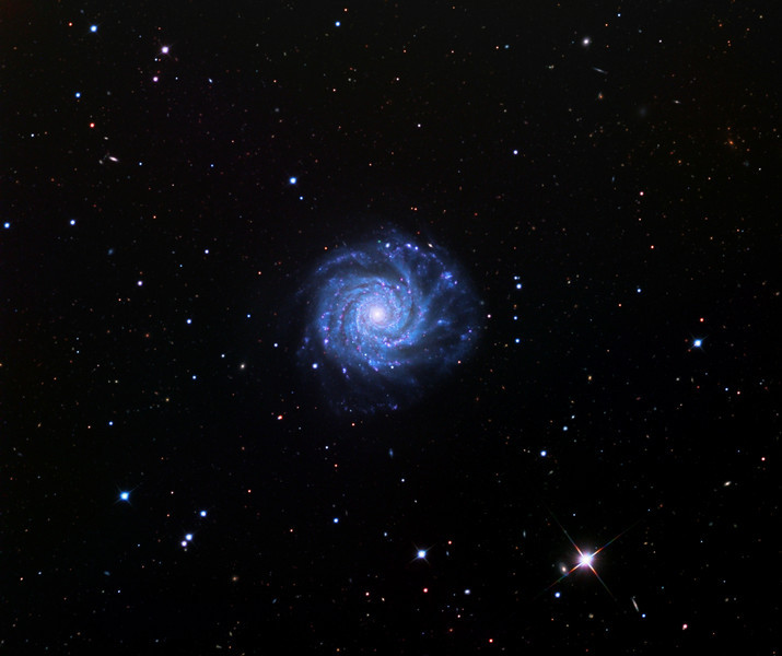 NGC 3938 spiral galaxy, first image using the STX camera on the 32 inch Schulman telescope on Mt. Lemmon, AZ.  Data capture by Adam Block, University of Arizona.  Processing by JDS using CCDStack and Photoshop CS5.