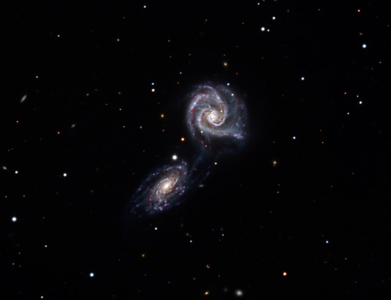 NGC 5426 and NGC 5427 interacting galaxies, also known as Arp 271.  32 inch Schulman telescope with STX camera on Mt. Lemmon, AZ.  Data capture and reduction by Adam Block, University of Arizona.  LRGB processing by JDS using CCDStack and Photoshop CS5.