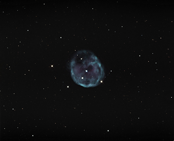 NGC 246, planetary nebula.  STX camera on the 32 inch Schulman telescope on Mt. Lemmon, AZ.  Data capture remotely over the internet by JDS using TheSky6, ACP Planner, TheSky Plan Capture, and Filezilla .  First internet controlled image with the Schulman telescope.  Processing of the RGB data, all binned 1x1, by JDS using CCDStack and Photoshop CS5.