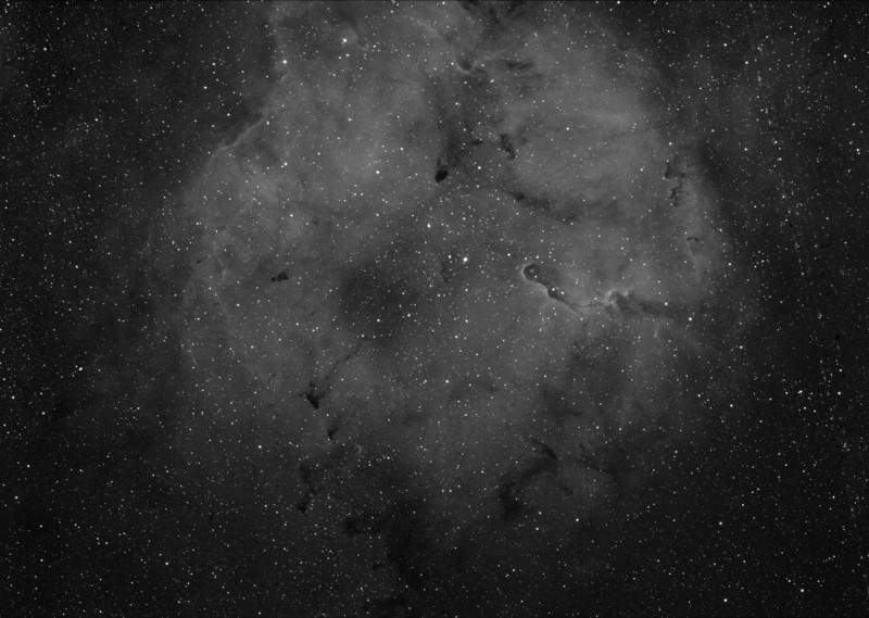 IC1396, Elephant Trunk nebula, wide angle H-alpha image.