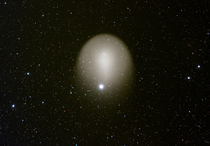 Comet 17P/Holmes partially occluding Mirfak, Nov. 18, 2007