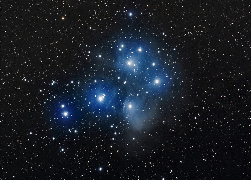 Messier 45 star group and nebulae (Pleiades).  Schulman telescope.  In remembrance of my late colleague Patrick Steptoe, British surgeon who was a pioneer in the field of gynecologic laparoscopy and co-developed, with Robert G. Edwards, the original methods of in vitro fertilization (IVF).