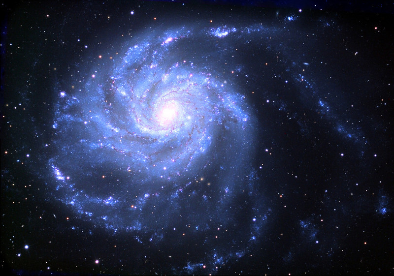 Messier 101, spiral galaxy.  Schulman Foundation 24 inch telescope on Mt. Lemmon, AZ.  Local telescope operation and gray scale frames by Adam Block, University of Arizona.  LLRGB image processing by JDS.  In remebrance of Mary Efron.