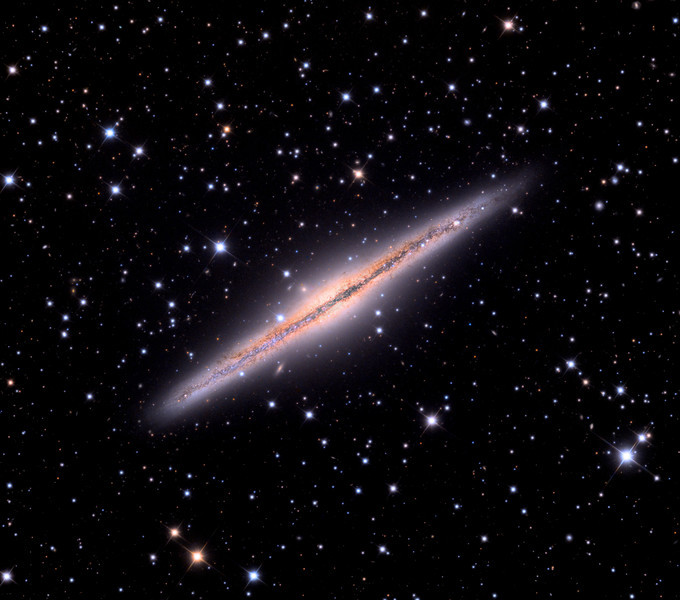 NGC891 galaxy.  32 inch Schulman telescope with STX camera on Mt. Lemmon, AZ.  Data capture and reduction by Adam Block, University of Arizona.  LRGB processing by JDS using CCDStack and Photoshop CS5.  In memory of David Thomas Austern.